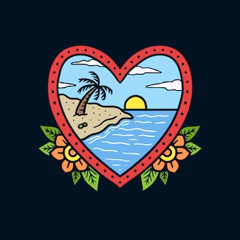 Main a dessiné des paysages de plage sur illustration de tatouage vieille forme de coeur cadre image