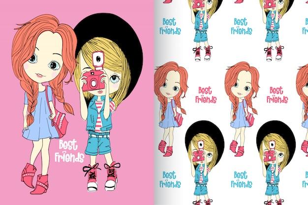 Main dessiné des petites filles avec set vector pattern