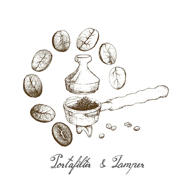 Main dessiné de porte-filtre avec bourre pour machine à café