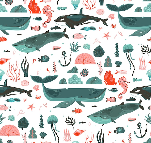 Main dessinée abstraite caricature graphique heure d'été sous-marine fond d'océan illustrations modèle sans couture avec récifs coralliens, baleines, épaulard isolé sur fond blanc.
