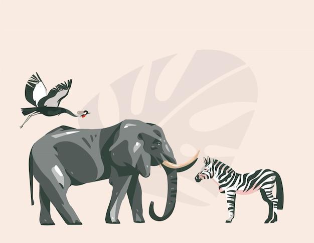 Main dessinée abstraite dessin animé moderne african safari collage illustrations art avec des animaux de safari sur fond de couleur pastel