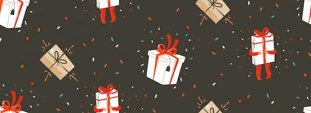 Main dessinée abstraite joyeux noël et bonne année temps dessin animé modèle sans couture nordique avec illustration mignonne de coffrets cadeaux surprise et personnages enfants sur fond noir.