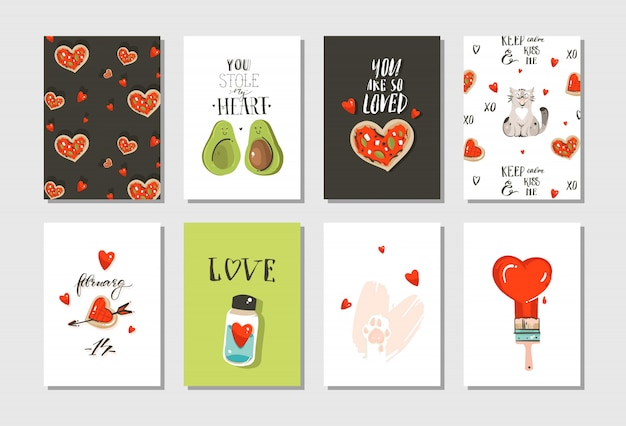 Main dessinée abstraite moderne dessin animé happy valentines day concept illustrations cartes collection de jeu avec chats mignons, pizza, coeurs, avocat et calligraphie manuscrite sur fond blanc