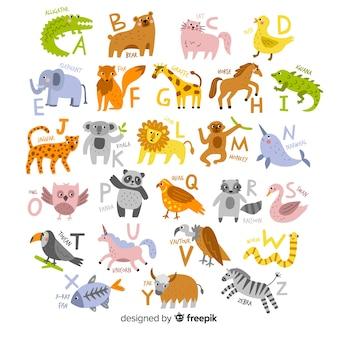 Main dessinée d'alphabet animal