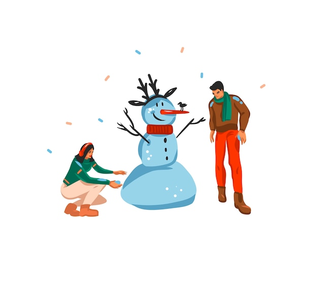 Main dessinée amusement abstrait plat joyeux noël et bonne année carte de fête de dessin animé avec des illustrations mignonnes de couple de noël faisant bonhomme de neige ensemble isolé sur fond blanc.