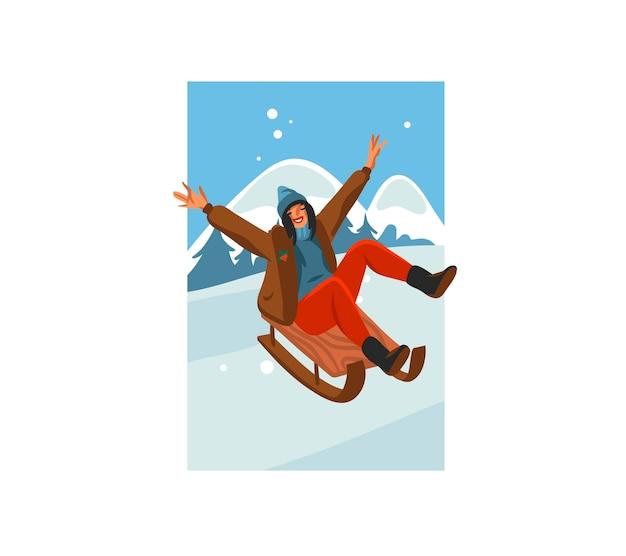 Main dessinée amusement stock plat joyeux noël temps cartoon illustration festive de noël femme heureuse traîneau isolé sur paysage d'hiver