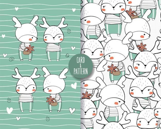 Main dessinée animaux faune mignon geste coloré heureux avec modèle sans couture d'été et illustration