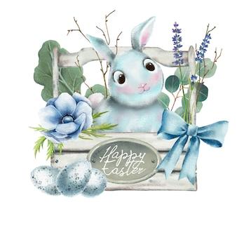 Main dessinée aquarelle de lapin de pâques dans un panier en bois