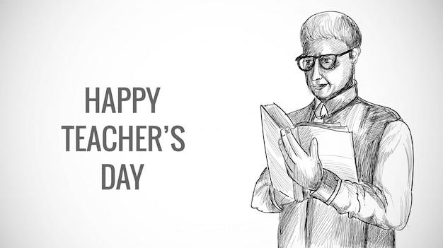 Main dessinée art croquis enseignant masculin avec fond de jour des enseignants