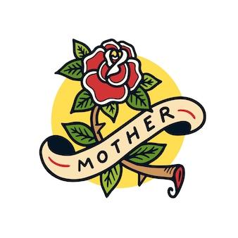 Main dessinée autre ruban avec une illustration de tatouage old school rose