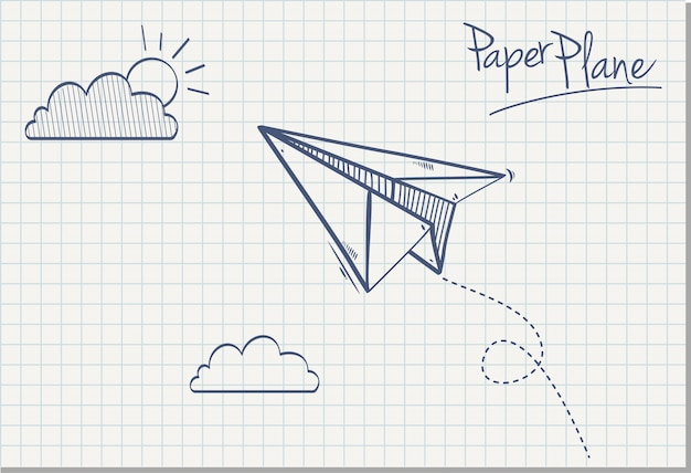 Main dessinée d'avion en papier, illustration vectorielle