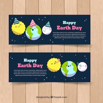 Main dessinée bannière de jour de la terre mère heureuse
