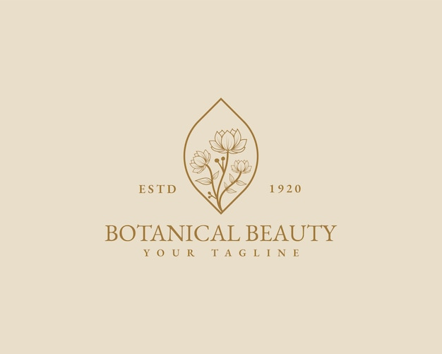 Main dessinée beauté féminine minimal floral botanique logo modèle spa salon peau soins des cheveux marque