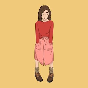 Main dessinée belle fille mignonne de dessin animé