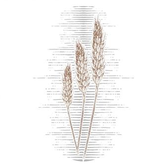 Main dessinée de blé