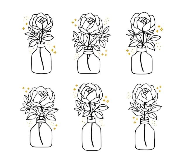 Main dessinée botanique rose fleur feuille branche vase bouteille et pot collection d'éléments d'art en ligne