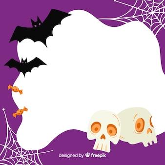 Main dessinée de cadre violet halloween