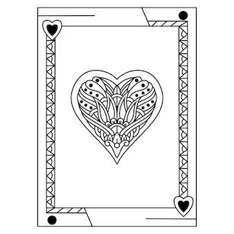 Main dessinée de carte de poker dans un style zentangle