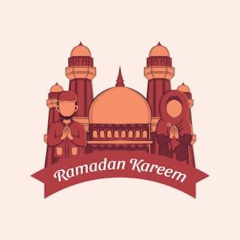 Main dessinée de carte de voeux ramadan kareem.
