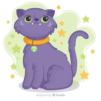 Main dessinée chat halloween avec collier
