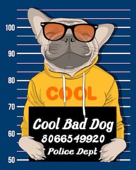 Main dessinée chien mignon avec illustration de lunettes de soleil