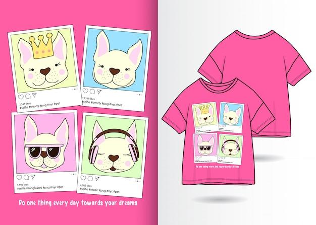 Main dessinée chiens mignons avec t-shirt