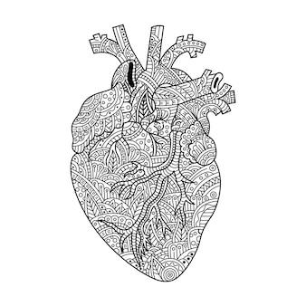 Main dessinée de coeur dans un style zentangle