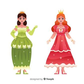Main dessinée couple de portrait de princesse