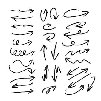 Main dessinée craie flèche vecteur grand ensemble doodle