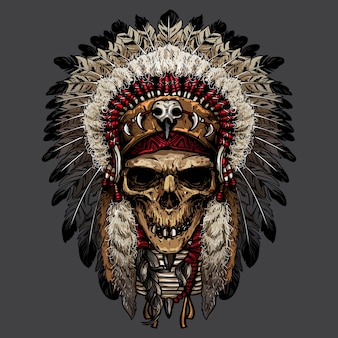 Main dessinée de crâne indien