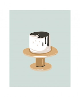 Main dessinée dessin animé abstrait temps de cuisson icône d'illustrations amusantes avec gâteau à la crème blanche sur support de gâteau isolé sur blanc