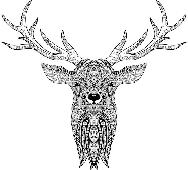 Main dessinée de doodle cerf dans un style zentangle