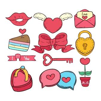 Main dessinée ou doodle collection d'icônes de saint valentin sur fond blanc