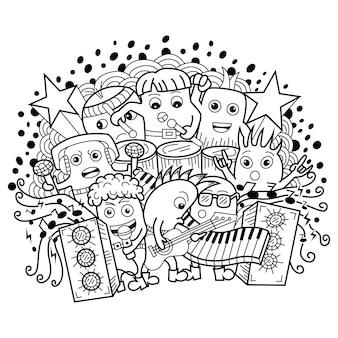 Main dessinée de doodle de musique monstre mignon