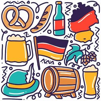 Main dessinée doodle vacances allemagne avec des icônes et des éléments de conception