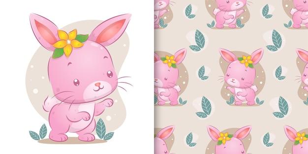La main dessinée du lapin coloré avec les fleurs lumineuses sur sa tête d'illustration
