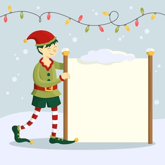 Main dessinée elfe de personnage de noël tenant une bannière vierge