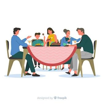 Main dessinée famille assis autour de fond de table