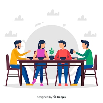Main dessinée famille assis autour d'une illustration de la table