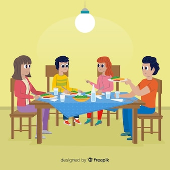 Main dessinée famille assis autour d'une table