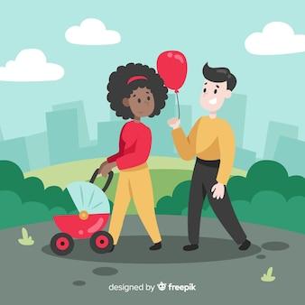 Main dessinée famille ayant une illustration de promenade