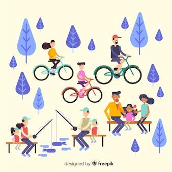 Main dessinée famille faisant la collection d'activités de plein air