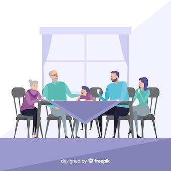 Main dessinée famille mangeant ensemble