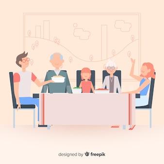 Main dessinée famille manger ensemble scène
