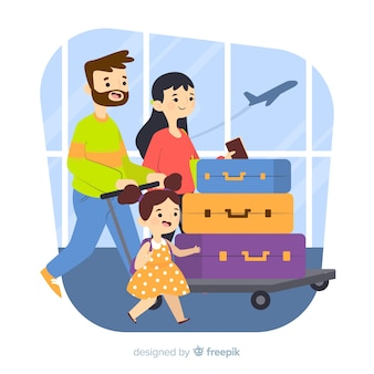 Main dessinée famille voyageant