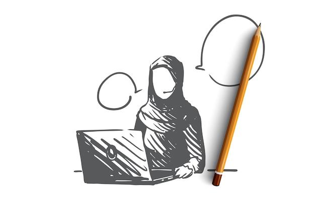 Main dessinée femme musulmane travaillant comme croquis de concept de gestionnaire de soutien