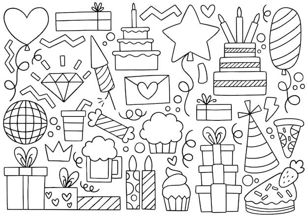 Main dessinée fête doodle joyeux anniversaire ornements illustration