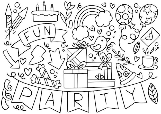 Main dessinée fête doodle motif de fond ornements joyeux anniversaire