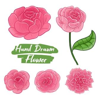 Main dessinée de fleur rose pour invitation de mariage.