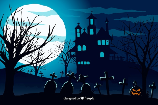 Main dessinée fond d'halloween avec la maison hantée